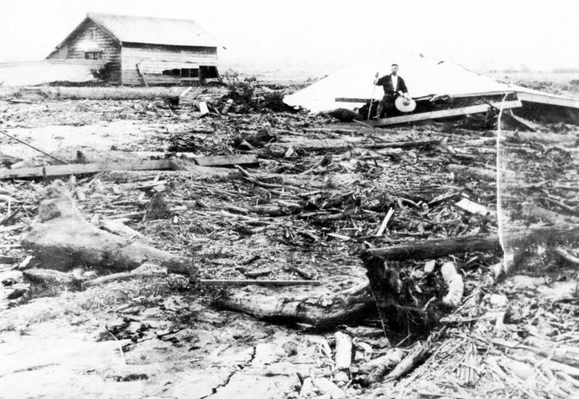 1926年上富良野開拓地での泥流被災状況